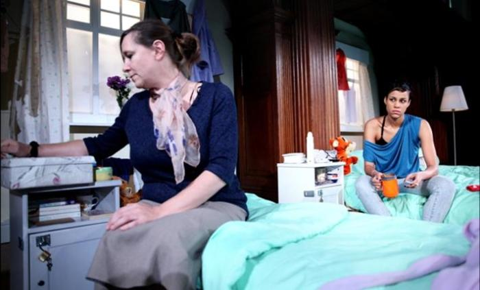 Dorm scene with Zawe Ashton and inmates. Image Credit: Clean Break