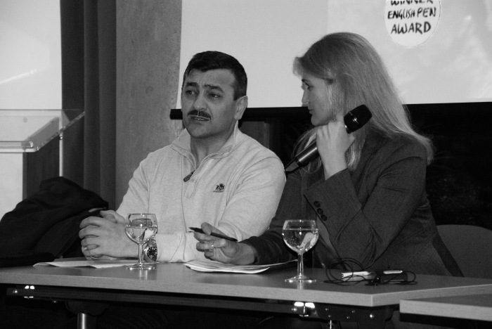 Eldin and translator Victoria Crompton, photo: Lennard Morrice Ortmann