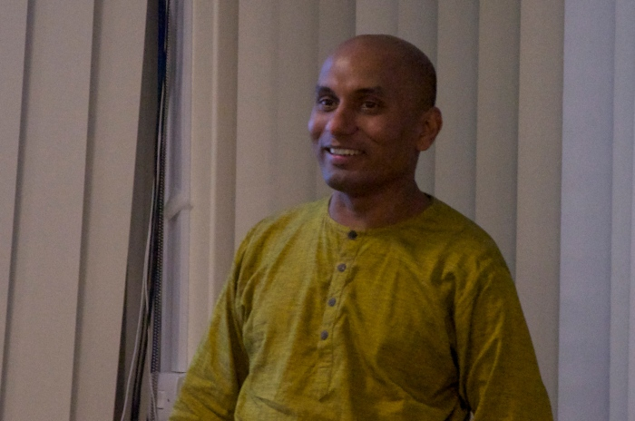 Ruki Fernando speaking at York PEN's exhibition 'Drawing Blood' in Spring 2013