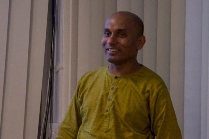 Ruki Fernando speaking at York PEN's exhibition 'Drawing Blood' in Spring 2013