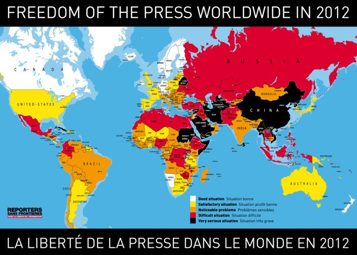 Close parallels can be seen between our map and Reporters Without Border's 2012 map of press freedoms.